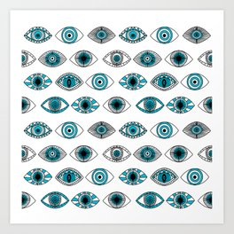 Evil eyes - eye pattern, eyes, doodle, eye drawing, talisman, greek, turkey, turkish,  Art Print
