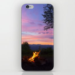 Sunset and campfire with a view iPhone Skin