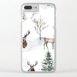 Winter Trees & Deer Pattern Clear iPhone Case