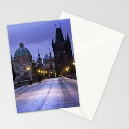 Winter and Snow at the Charles Bridge, Prague Stationery Cards