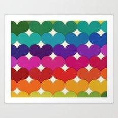 Rainbow Hearts Art Print