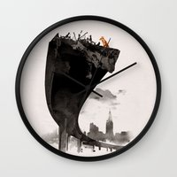 the last of us Wall Clocks featuring The Last of Us by Robert Farkas