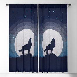 Wolf and moon Blackout Curtain