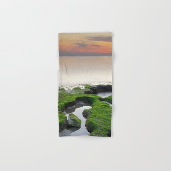 """Green, white and red beach"" Hand & Bath Towel"