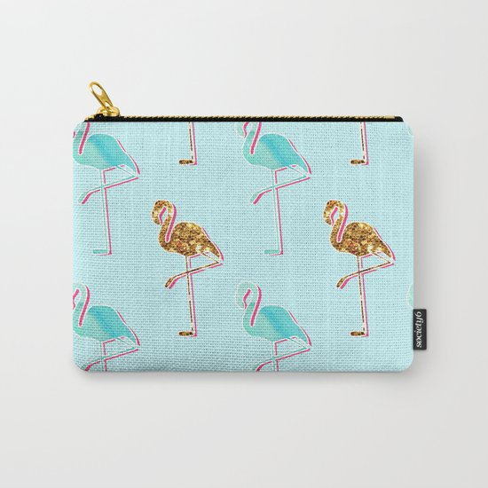 Golden Blue Flamingo Pattern Carry-All Pouch