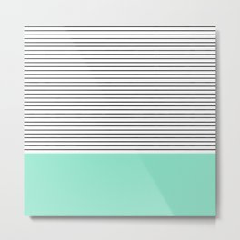 Minimal Mint Stripes Metal Print