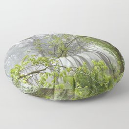 Foggy morning into the dream forest Floor Pillow