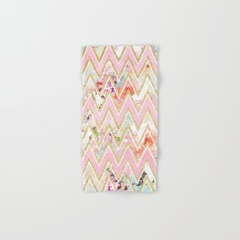 Pastel watercolor floral pink gold chevron pattern Hand & Bath Towel