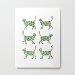 Cat Walking Silhouette - Green Vintage Damask Pattern Metal Print