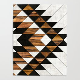 Urban Tribal Pattern 9 - Aztec - Concrete and Wood Poster