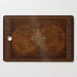Antique Steampunk Compass Rose & Map Cutting Board