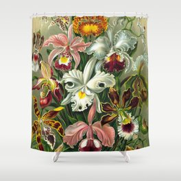 Victorian Orchids Floral Print-Ernst Haeckel Shower Curtain