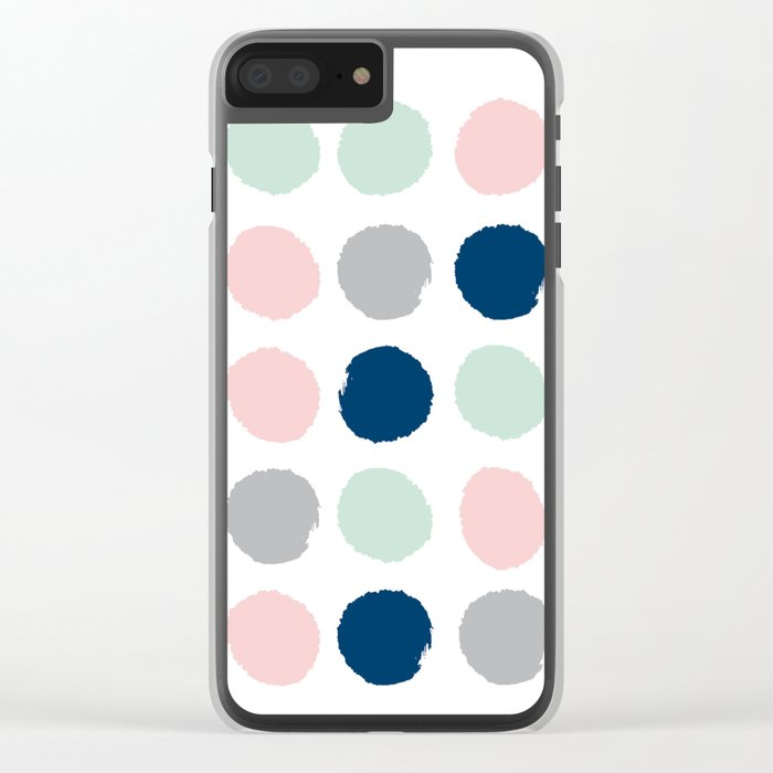 Minimal painted dots gender neutral home decor minimalist nursery baby polka dots Clear iPhone Case