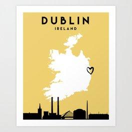 DUBLIN IRELAND LOVE CITY SILHOUETTE SKYLINE ART Art Print