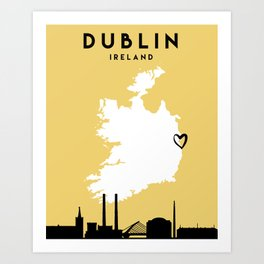 DUBLIN IRELAND LOVE CITY SILHOUETTE SKYLINE ART Art Print