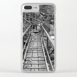 wooden bridge Fischbach, black and white photography Clear iPhone Case