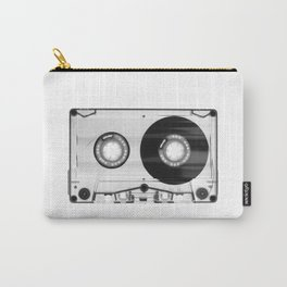 1980's Retro Black-White Vintage 80's Cassette Eighties Technology Art Print Home Decor Wall Decor Carry-All Pouch