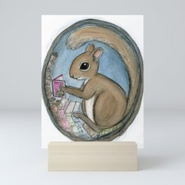 Sherman Squirrel Reads a Tale Mini Art Print
