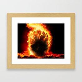 The Fire Burning Skull Framed Art Print