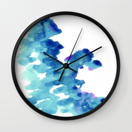 Blue, turquoise water cloud. Colorful watercolor painting Wall Clock