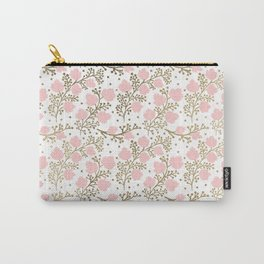 Girly blush pink faux gold elegant floral Carry-All Pouch