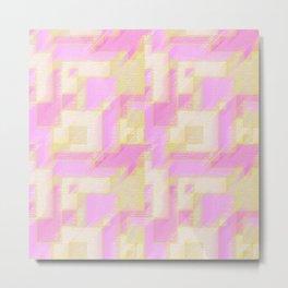 Pink and Yellow Geometric Abstract Metal Print