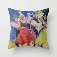folk Throw Pillows featuring Folk  by Renata Domagalska