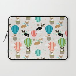 Corgi hot air balloon ride cute gifts for corgi lovers welsh corgi red and tricolored Laptop Sleeve