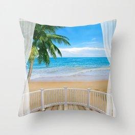 Balcony with a Beach Ocean View Throw Pillow