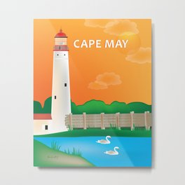 Cape May, New Jersey - Skyline Illustration by Loose Petals Metal Print