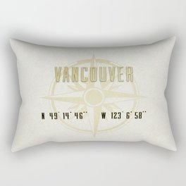 Vancouver - Vintage Map and Location Rectangular Pillow