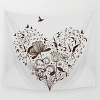 swallow Wall Tapestries featuring Swallow heart - Grey by Mr Dirns