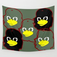 che Wall Tapestries featuring Linux tux Penguin Che guevara guerilla by Sofia Youshi