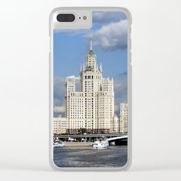 Moscow skyscraper, view from Moscow-river, sunny summer day Clear iPhone Case