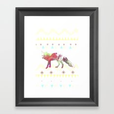 Watercolor native fox Framed Art Print