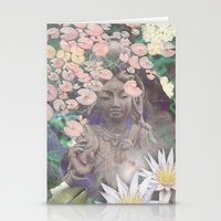 budi satria kwan Stationery Cards featuring Reflections - Zen Garden Kwan Yin Goddess Art by Fusion Idol