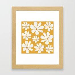Floral Daisy Pattern - Golden Yellow Framed Art Print