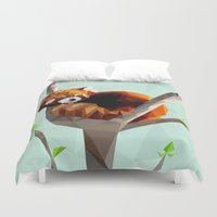 red panda Duvet Covers featuring Red Panda by Whitney Silva