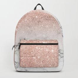 Modern faux rose gold pink glitter ombre white marble Backpack