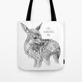 Deer Illustration By Magda Opoka | Animal | Black and White | bw | black-and-white | Animals Tote Bag