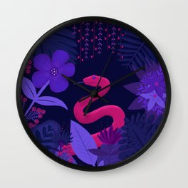 Snake in the Jungle Wall Clock