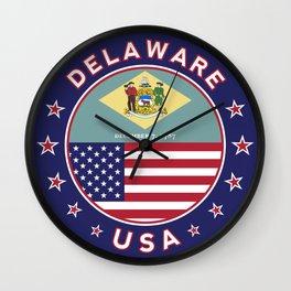Delaware, Delaware t-shirt, Delaware sticker, circle, Delaware flag, white bg Wall Clock