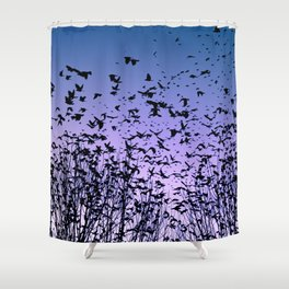 Blue sky birds freedom flight Shower Curtain