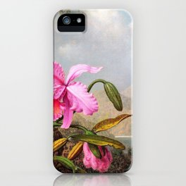 Orchids And Hummingbirds - Martin Johnson Heade iPhone Case