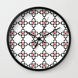 Symmetric patterns 149 red and black Wall Clock