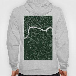 Green on White London Street Map Hoody
