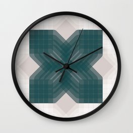 Green and White Opaque Intersections  Wall Clock