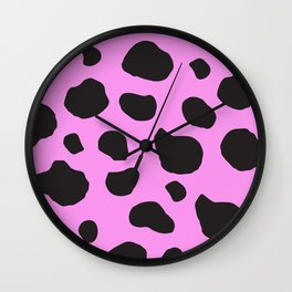 Animal Print (Cow Print), Cow Spots - Pink Black Wall Clock