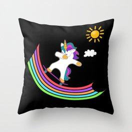Skateboard Skater Dab Dabbing Hip Hop Unicorn Throw Pillow