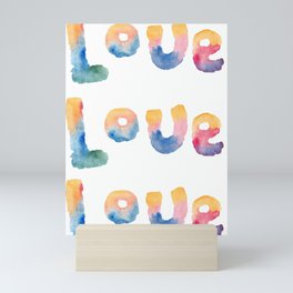 Love - Word By Watercolor On white Background Mini Art Print